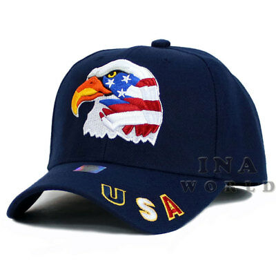 USA American Flag hat Stars and Stripes EAGLE Embroidered Baseball cap-Navy Blue