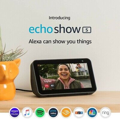 NEW Amazon Echo Show 5 Compact Smart Display w Alexa Assistant in Charcoal