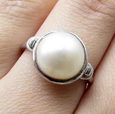 925 Silver over Brass - Faux White Pearl Solitaire Ring Sz 7 - (Brass Pearl Ring)