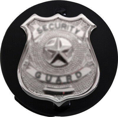 Black Round Badge Holder Shield Leather Clip On Belt for Law Enforcement Police - Leather Round Clip