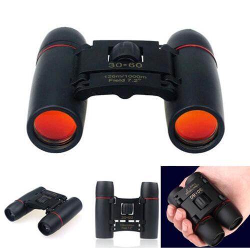 Black 30 x 60 Zoom Day Night Vision Travel Folding Binoculars Telescope + Case