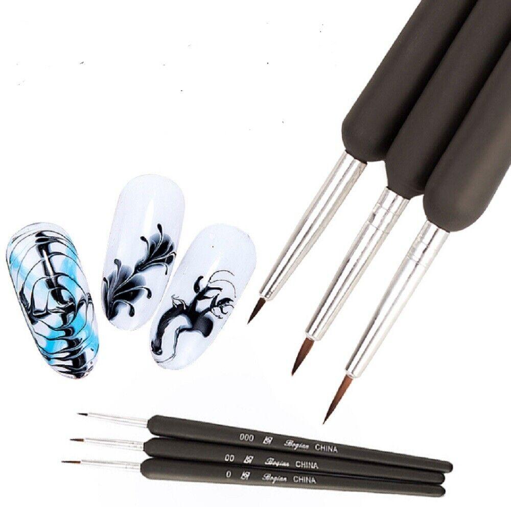 3PCS Nail Art Pen Dotting Painting Drawing UV Gel Liner Polish Brush Tool Set B Health & Beauty