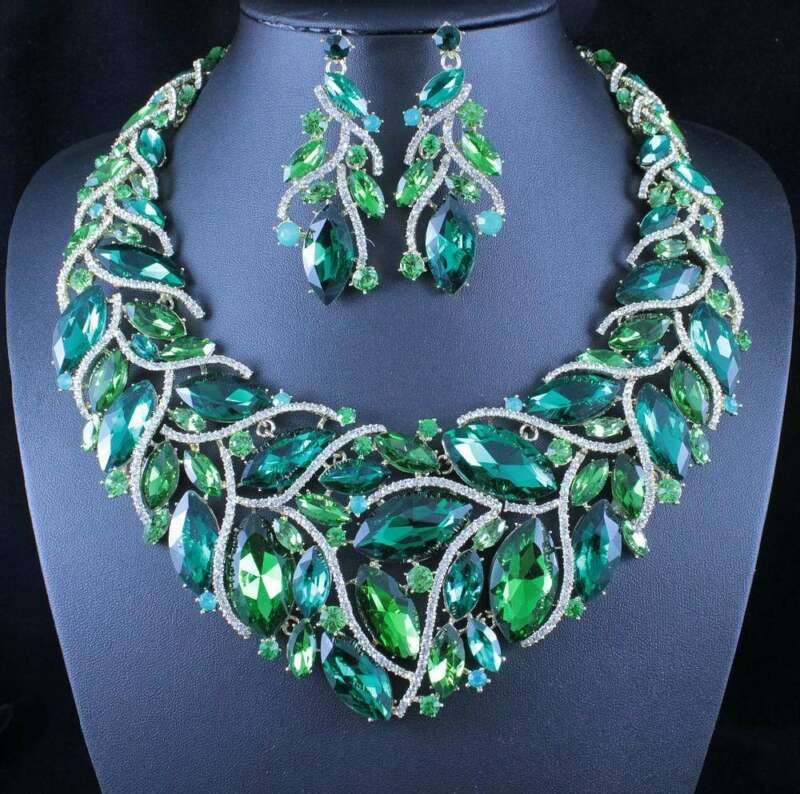 SEXY LEAVES GREEN AUSTRIAN RHINESTONE NECKLACE EARRINGS SET PAGEANT PROM N11905G