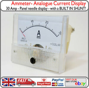 30A DC Analogue Ammeter Panel 30 Amp Ampere Meter w/ INBUILT INTERNAL SHUNT
