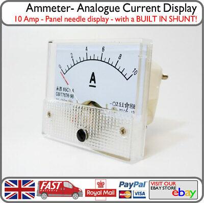 10 Amp Dc Analogue Ammeter Panel 10a Ampere Meter W Inbuilt Internal Shunt
