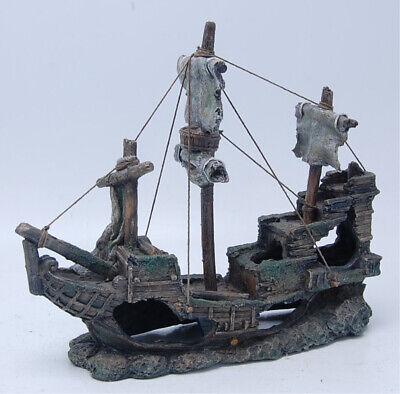 Aquarium Deko Piratenschiff Schiffswrack Aquarien Dekoration Boot 32x10,5x28 cm