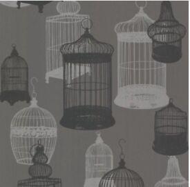 Avian Bird Cages Wallpaper - Charcoal
