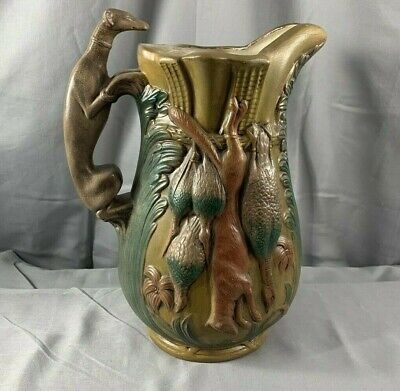 "Antique Majolica Large Jug Pitcher Greyhound Dog Handle Hunting Game 10.5""1880's"