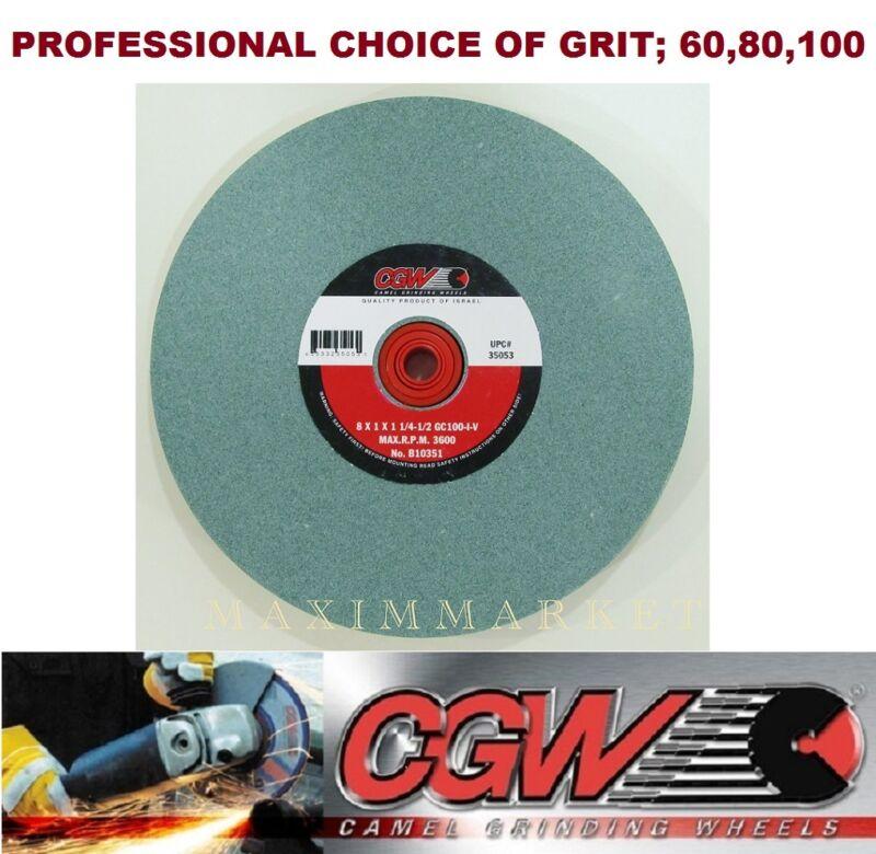 """8"""" x 1"""" x 1-1/4-1/2"""" CGW Bench or Pedestal Grinding Wheel Green Silicon Carbide"""