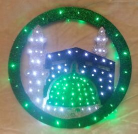 ROUND MILAD LIGHTS FLASHING GREEN/WHITE LED BULBS