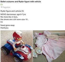 Ryder figure and vehicle , ballet costume