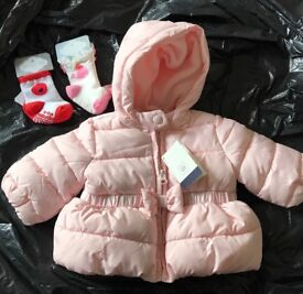 Brand new Baby gap girls bow puffer jacket