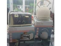 Ex Catalogue Candy Rose Dunelm Mill Cream Retro Fast Boil kettle and four slice toaster set