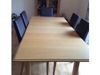 M&. - Wooden dining table and 6 chairs