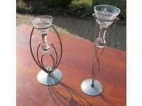 2 Candlesticks Metal and Glass
