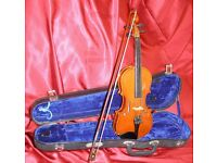 Violin, Hard Case and Bow. 1/4 size - 31.5 cm Body