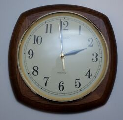 Vintage 80s Seiko Quartz Wall Clock Brown Solid Oak Curved Square Case 12 WORKS