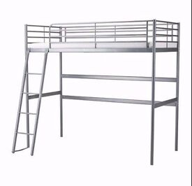 IMMACULATE CONDITION IKEA SVÄRTA single loft bed frame, silver , with free desk and mattress,