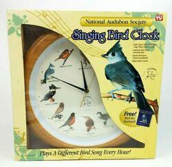 New In Box National Audubon Society Quartz Singing Bird Clock w/Bonus Bird Key