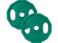 "BodyRip 2 x 10KG 1"" STANDARD POLYGONAL COLOUR CODED WEIGHT PLATES GYM LIFTING"
