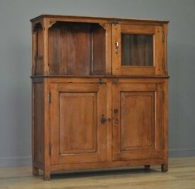 Attractive Rustic Antique Solid Teak Bookcase Display Cabinet Cupboard