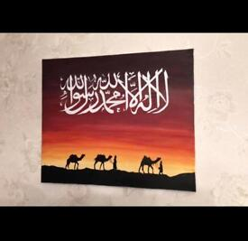 Shahada sunset canvas with camels