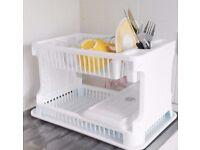 White Plastic 2 Tier Washing Up Dish Drainer Rack.