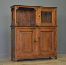 Attractive Rustic Antique Solid Teak Bookcase Display Cabinet Cupboard