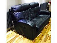 DFS black leather 3 piece suite