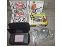 Black Nintendo DS Lite Bundle with Four DS Games and charger, Stylus and case