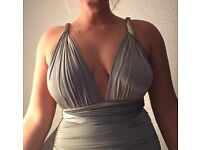"""misspap"" silver multi way mini dress sized 10 WORN ONCE"