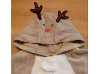 Mothercare Reindeer Babygrow / Fancy Dress Christmas Outfit - Age 12 - 18 months