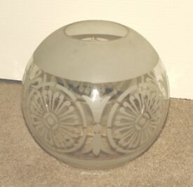Antique Glass Acid Etched Oil Lamp Globe Shade