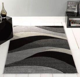 Hand Carved Rug, Grey, 120 x 170 Cm