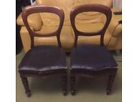 Pair of Genuine Antique Victorian Balloon back Chairs