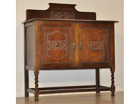 Attractive Small Vintage Carved Oak Gallery Back Barley Twist Sideboard Cabinet