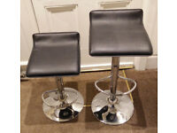 Pair of bar stools, height adjustable, black and chrome