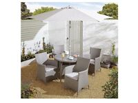 San Marino 6 piece rattan round garden dining set with parasol and seat cushions