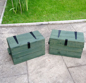 Two solid wood hand made box chest trunk