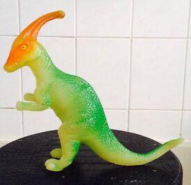 Rare Green Glow In Dark Parasaurolophus Hard Solid Plastic Dinosaur Figure