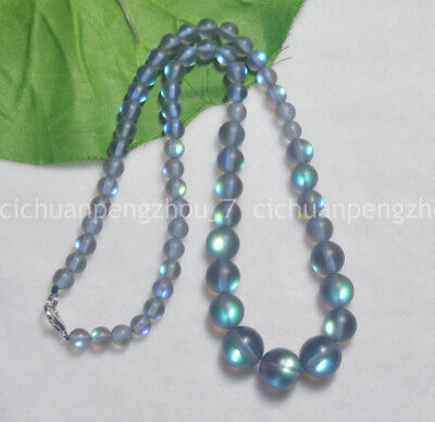 Cheap Beaded Necklaces (Flash 6-12mm Gray Gleamy Rainbow Moonstone Round Gems Beads Necklaces)