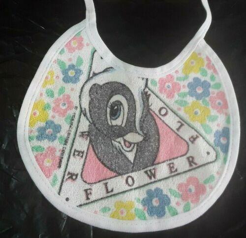 Vintage Disney Company Flower Skunk baby Bib Ties 1980s