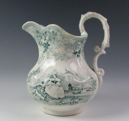 Antique Green Staffordshire Milk Pitcher circa 1835