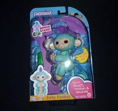 New Wowwee Fingerlings Interactive Baby Monkey Zoe Teal Monkey Turquoise