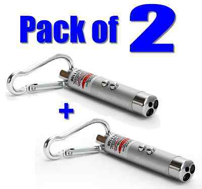 Pack of 2x Mini Laser Pointer Pens+LED Torch+Money Checker 3-in-1 Cat Dog Toys