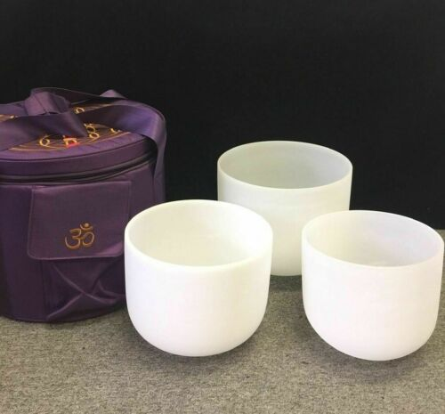 "WuYou Frosted Crystal Singing Bowl Set of 3 PCS 8""B +10""D +12""G + Carrying Case"