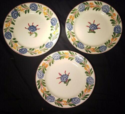 "3 Old English Handpainted Baker & Co. Ltd Stick Spatter 9"" Plates w/Blue Rose"