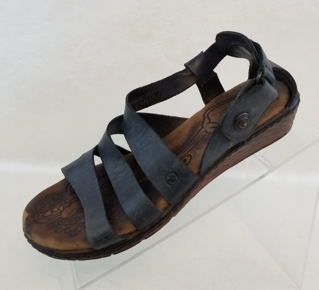 0d6faa6d3e45f Born Sandals Strappy Flat Open Toe Black Leather Slip On Womens Shoes EU 39  US 8
