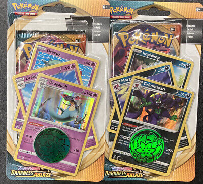 """2 Pokemon Darkness Ablaze Booster Box Blister Packs With Promo Cards """"Charizard"""""""