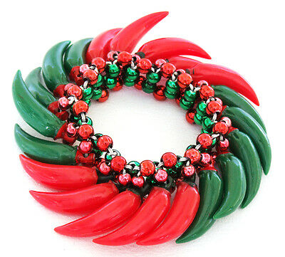 Hot Chili Peppers Red & Green Bracelet Halloween Mardi Gras Cajun New Orleans